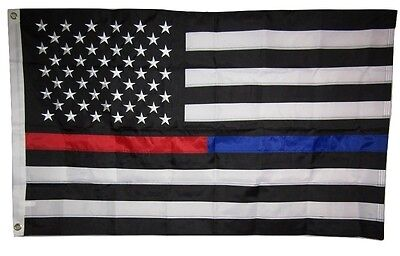 3x5 Embroidered USA Police Fire Responders Thin Red Line Blue Line Nylon Flag