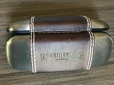 True Religion Metal Leather Hard Clamshell Eyeglass Case