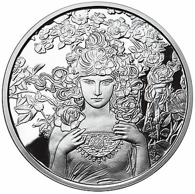 ALPHONSE MUCHA ROSE 1 oz .999 SILVER COIN #3 in Series Art