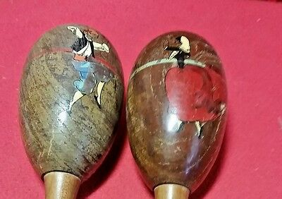 """I Pair Of Antique Hand Painted Wood Drum  8"""" Height Rattle Shaker"""