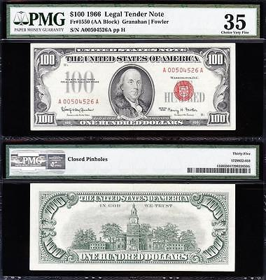 AWESOME Bold & Crisp VF+ 1966 $100 RED SEAL US Note! PMG 35! FREE SHIP! 00504526