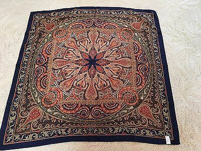 """Laura Ashley Vintage Navy Blue Paisley Silk Scarf 34"""" Square Made In Italy"""