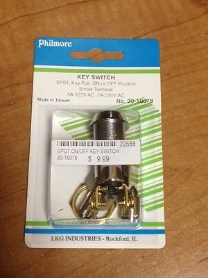 Round Lock SPST Key Switch - Key Pull, On or Off Position - Philmore 30-10078