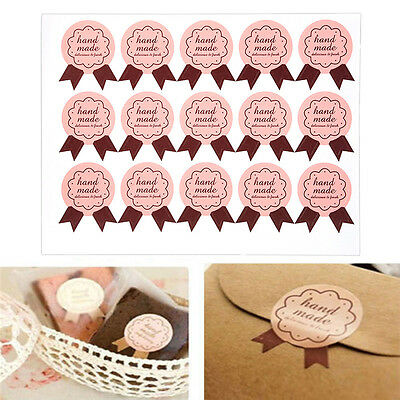 "120pcs ""handmade"" Paper Stickers Labels Packaging Seal Craft Gift Decoration"