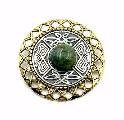 Irish Connemara Marble Pin with Mulingar Pewter Medallion