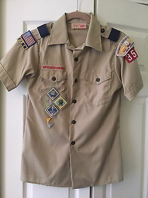 Boy Scout Uniform Shirt BSA Tan SS Youth L 9 Patches Epaulets Webelos GREAT!!✔