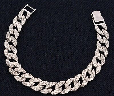 Miami CUBAN Iced Out CZ Micro Pave Men's Link BRACELET Real Sterling Silver 925