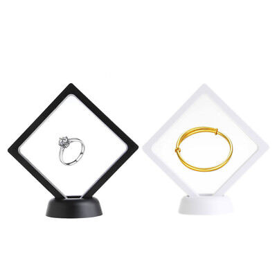 PET Membrane Acrylic Jewelry Suspended Floating Display Case Holder With Base