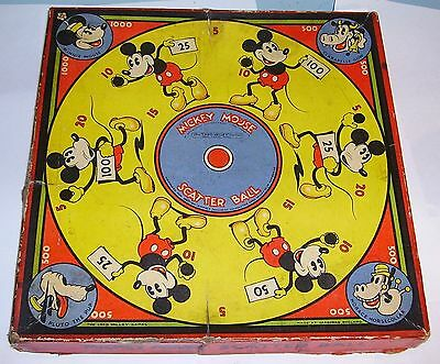 1930's Chad Valley Mickey Mouse Scatter Ball Game square version