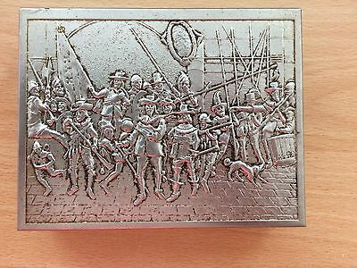 Antique Silver / Plate (?) Wood Lined Box. Dutch Soldier Scene engraved.