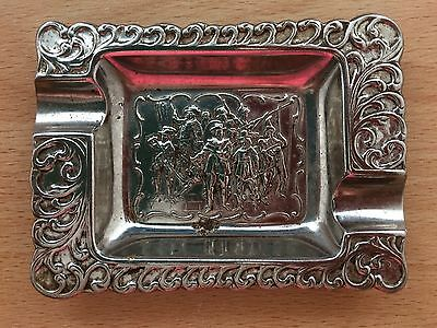 Silver / Plated Ash Tray.  Dutch soldier scene?