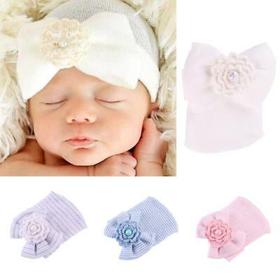 Soft Newborn Girls Infant Bowknot Beanie Hat Hospital Cap for 0-6 Months Baby