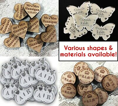 Personalised Wedding Confetti Decoration Table ENGRAVED Mini Favours Mr Mrs Gift