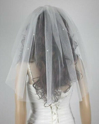 Chic 1T Ivory/White Bridal Veil with Comb Pearls attached Veil Wedding veil