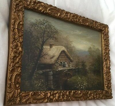 Antique 19th Century Framed Reverse Oil Painting on Glass of a Watermill