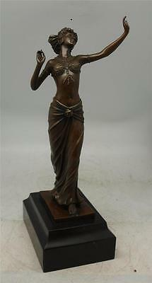 Art Deco Bronze Semi Naked Lady - Signed Ferdinand Preiss - Solid Marble Base
