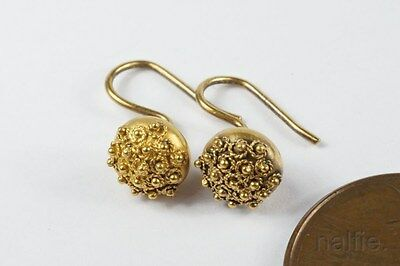 TINY ANTIQUE ENGLISH 18K GOLD ETRUSCAN ORB EARRINGS c1870