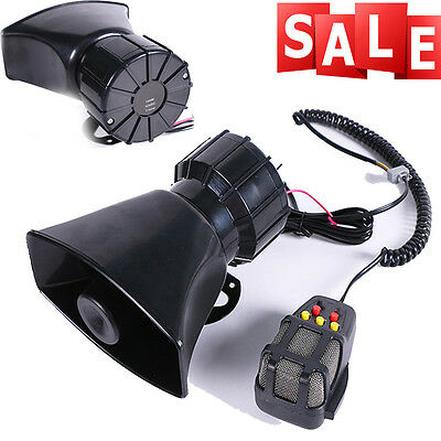 DC12V Car Truck Alarm Police Fire Loud Speaker PA Siren Horn MIC System Kit Sale