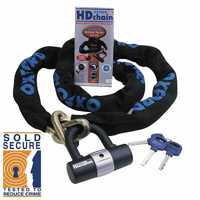 Oxford Products HD Chain 1.5M Motorcycle Heavy Duty Chain and Lock - Sold Secure