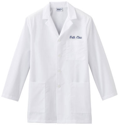 Meta Men's Long Sleeve Button Front 3 Pocket Lab Coat. 15007