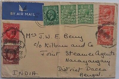 Great Britain 1935 Bristol Airmail Cover With Mixed Issue Stamps To India