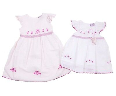 Chloe Louise Pink White Baby Girls Floral Embroidered Smocked Traditional Dress