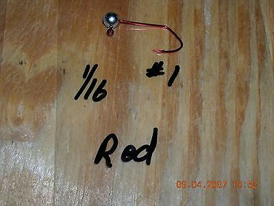 50 1//80oz Ball Head Jigs Red Chrome Sickle Hooks #10 #8 or #6 You Choose