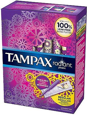 Tampax Radiant Plastic Unscented Tampons, Regular Absorbency, 16 ea (Pack of 9)