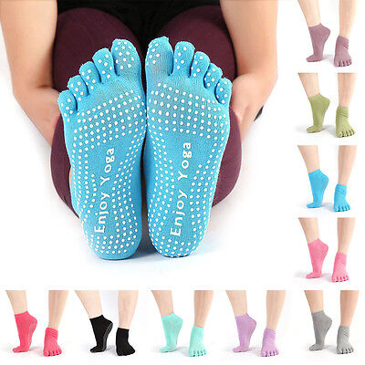 Yoga Non Slip Pilates Massage 5 Toe Socks Full Grip Socks Heel With Exercise Gym