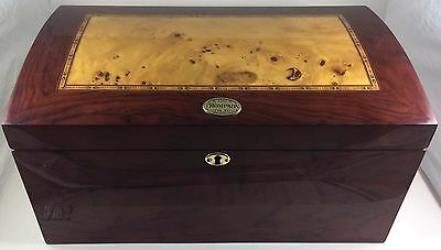 1915 Thompson & Co Large Cigar Humidor Inlaid Wood Box with Hygrometer