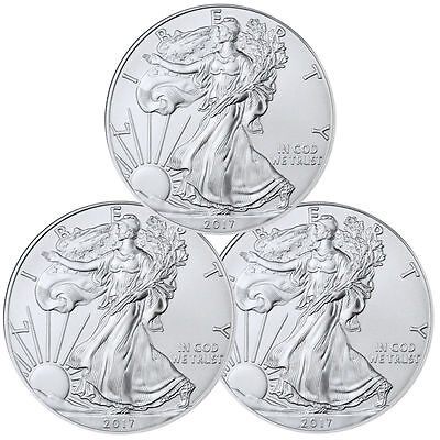 2017 1 Troy oz. American Silver Eagle - Lot of 3 Coins  ***EBUCKS BONUS***