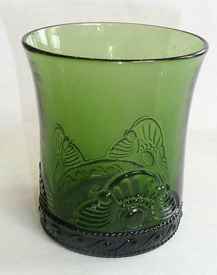 Early 1900's Green Glass, Drinking Glass, With Pattern, Ground Bottom