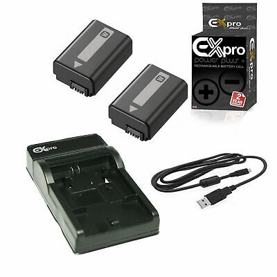 Ex-Pro 2x NP-FW50 Battery +Charger for Sony SLT-A35, A-55, A55, SLT-A55, A7000