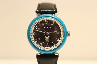 "Vintage Ussr Russia Rare Model Aluminum Blue Case Hand Wind Up Watch ""raketa"""