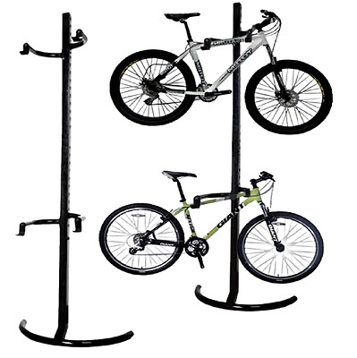 Standing Storage Bicycle Rack Gravity Bike Stand Cycle Tidy Holds 2 X Bike Mount