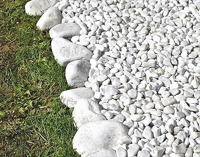 Natural POLISHED Stones Pebbles Gravel Chippings SNOW WHITE ** HOME & GARDEN **