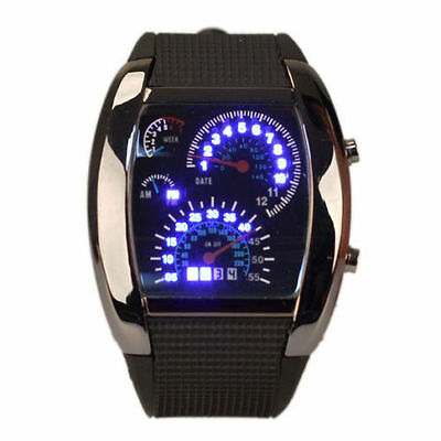 Men's Quartz Watch Sports Speedometer Style LED Digital Rubber Wrist Watch New