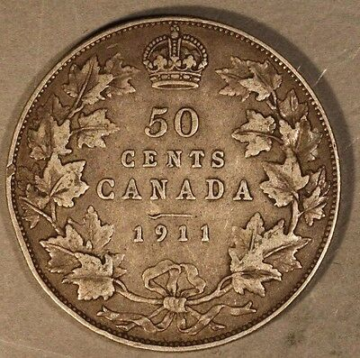 1911 Canada 50 Cent Silver Pleasant Circulated        ** FREE U.S. SHIPPING **