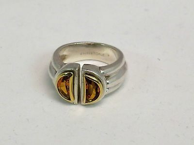 Rare Christofle 18K Gold & 925 Sterling Silver Citrine Ring ~ Size 7