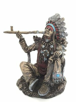 Native American Indian Chief Sculpture Smoking Peace Pipe Statue Figurine