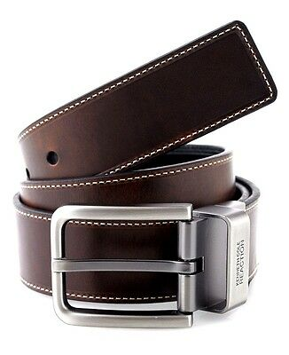 $150 KENNETH COLE Mens BROWN BLACK REVERSIBLE LEATHER CASUAL DRESS BELT SIZE 38