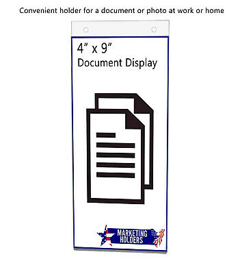 "Sign Holder Ad Frame 4""W x 9""H Wall Mount with Mounting Holes"
