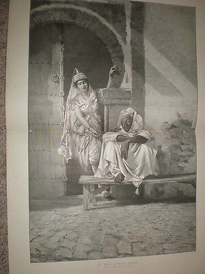At The Harem Door A Von Meckel old large print 1891