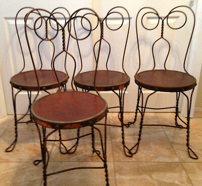 ICE CREAM PARLOR CHAIRS 4, Vintage copper finish with original wood seats