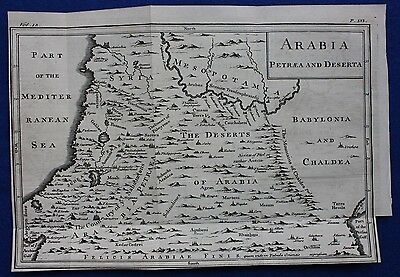 Original antique map ARABIA PETRAEA AND DESERTA from 'An Universal History' 1747