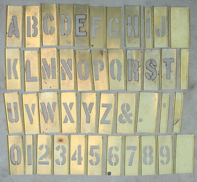 """Set of 4"""" Brass Interlocking Stencils 45 Pieces Letters and Numbers"""