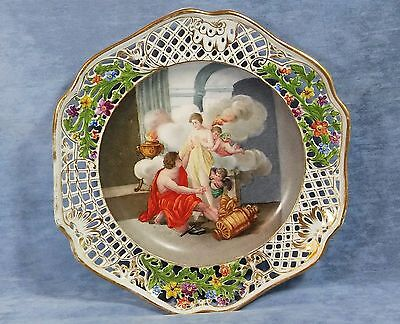Antique German Dresden Scenic Porcelain Portrait Plate Reticulated 1800s Rare!