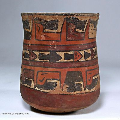 """Ancient Pre Columbian Nazca Indian """"Trophy Heads"""" Pottery Bowl Cup Artifact"""