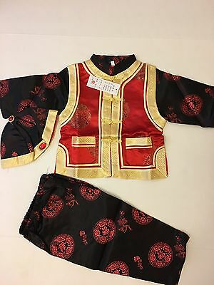 New baby Red Black And Gold Chinese outfits,  Fit 18mo  - 2years