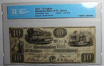 1837 $10 Mechanics Bank of St. John's